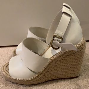 Treasure and Bond white leather wedge size 9